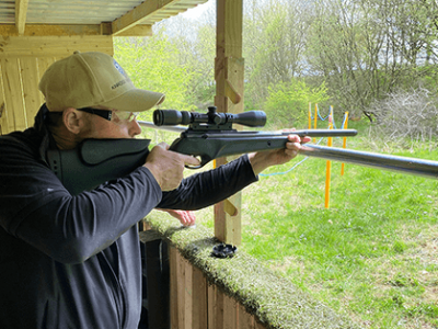 Air Rifle Shooting at Kinross Activity Centre, Perthshire, Scotland. A fun outdoor activity day out for all the family! Why not try our other activities too - Archery, Axe Throwing and Laser Clay Tag Pigeon Shooting. Get in touch.