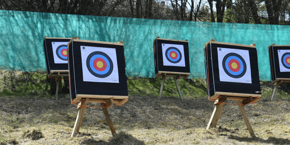 Archery at Kinross Activity Centre, Perthshire. We have a large range of archery targets - 5 people can play at once. Outdoor activities in Scotland.